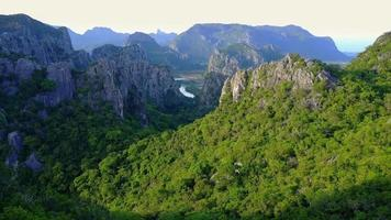 Aerial View of Limestones and The Beautiful Rainforest