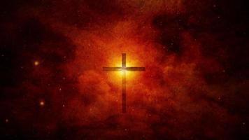 christliches Kreuz und leuchtendes Licht. video