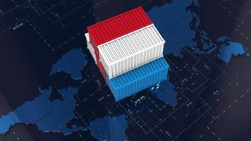 Stack of Containers Boxes Over a 3D World Map video