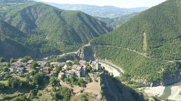 Aerial View of Brugnello Village, Val Trebbia, Italy
