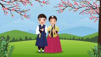 Cute couple in hanbok dresses at the park