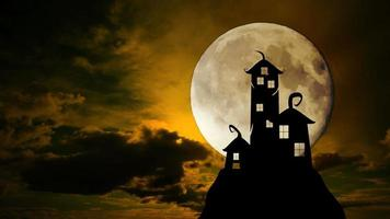 Scary Dark Castle Animation With Dramatic Full Moon And Clouds