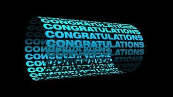 parabéns - texto 3D azul claro em movimento circular de cilindro