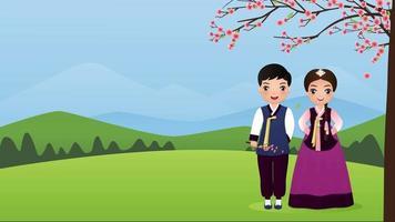 pareja viste ropa coreana bajo los árboles de sakura