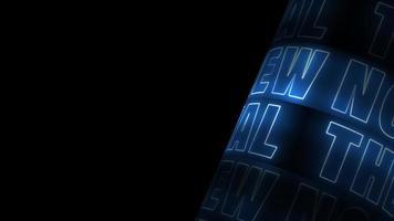 'o novo normal' rotação de texto neon azul video