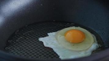 Fried Egg In A Pan With Boiling Oil. video