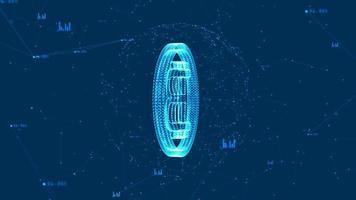 Bitcoin blockchain criptomoeda com sinal de moeda bitcoin no ciberespaço digital.