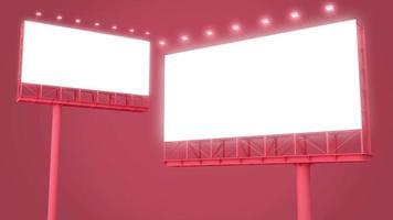 cartelera en blanco sobre fondo rojo. video