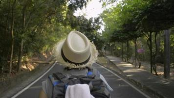 Vista trasera del excursionista caminando con mochila a través de la selva tropical.