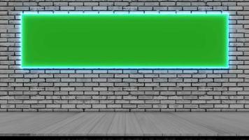 Piso de madera de tablón gris y marco vacío con luz azul. video