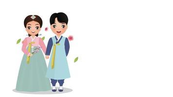 linda pareja en traje tradicional hanbok personaje de dibujos animados de corea del sur.