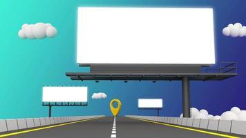tres vallas publicitarias en blanco con carretera. video