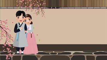 pareja en traje tradicional hanbok con flores de cerezo y hojas caídas.