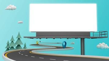 cartelera en blanco con carretera con curvas. video