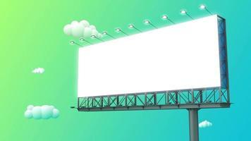 cartelera en blanco en el cielo azul verde. video