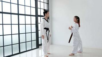 Wide shot of Taekwondo coach teaching her student