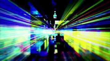 um labirinto de faixas de luz de alta energia