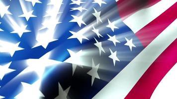 la bandera americana con efectos de rayos de luz. video