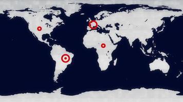 pantalla de visualización de alarma de advertencia en el mapa del mundo. video