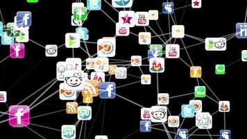Animação 3D mostrando uma rede de ícones de mídia social