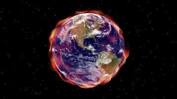 aura do aquecimento global envolve a terra no espaço