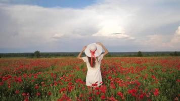 Woman in white dress and hat on Poppy Flowers Field