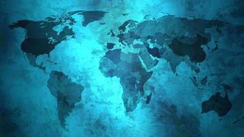 fundo 3d de animação de bandeira de mapa mundial grunge azul video