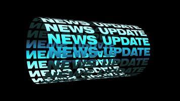 notícias atualização texto azul 3d cilindro cinético looping