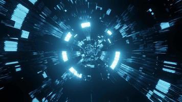 túnel de vidro azul com reflexos de luz voando pelo circuito de DJ