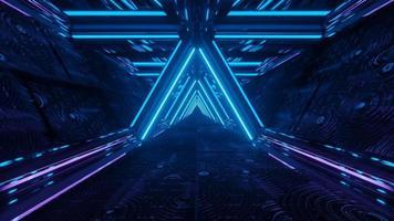 Reflexão de néon azul brilhante túnel tecnológico corredor espaço dj
