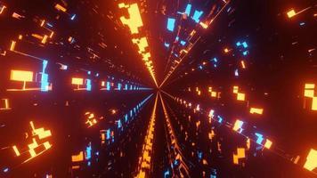 túnel con patrón de neón brillante azul y naranja