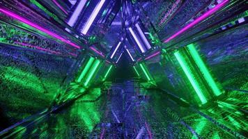 Túnel de triângulo de néon com textura reflexiva legal