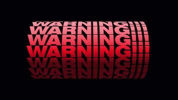 animação de texto de 'aviso' com canal alfa video