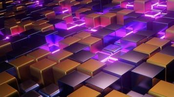 grade de cubos de néon em movimento loop dj video