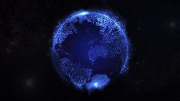 partículas azules planeta tierra video
