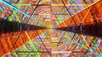 ciclo di tunnel di vetro wireframe al neon