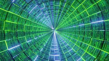 túnel de cristal de líneas de neón brillante