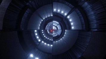 partículas de esferas brilhantes voando através de reflexão abstrata