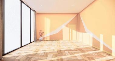 habitación vacía con paredes de color amarillo anaranjado y animación de piso de madera video