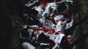 Charcoal Burning on Grill video