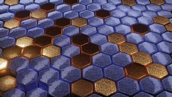 bucle de dj de rejilla de onda hexagonal de oro de mármol ang