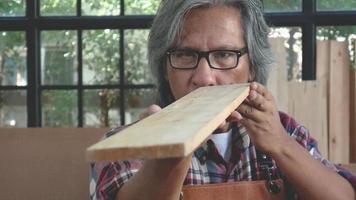 Der alte Handwerker hält ein Stück Holz und schaut durch, um die lineare Ebene zu überprüfen video