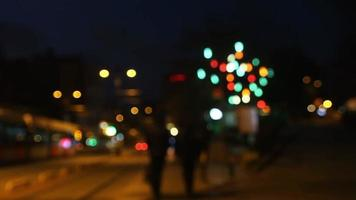Defocused Traffic at Night with Bokeh Lights