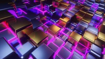 Cubes Grid DJ Loop with Pink Neon Cubes