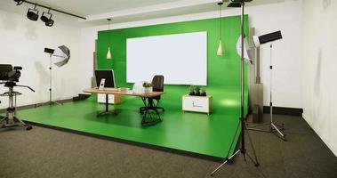 estúdio de cinema moderno com animação em tela branca