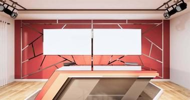 Studio room design aluminum trim gold on red wall Animation