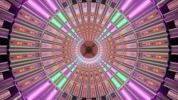 tunnel al neon che cambia colore colorato rotante