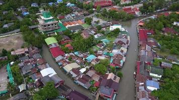 vista superior mercado flotante de ampawa, samutsongkhram, tailandia.