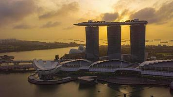 Singapore City Skyline During Sunrise