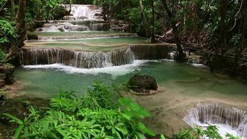 Majestic waterfall in tropical forest of Thailand video
